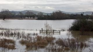 Flood water covers fields near Tewkesbury