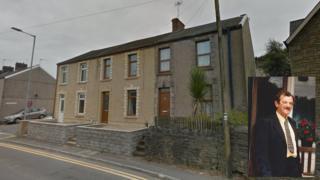 John Williams's house on Pentrechwyth Road and (inset) John Williams