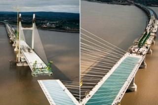 Aerial views of bridge being built