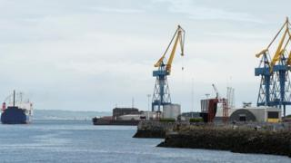 Ferry leaving port of Belfast