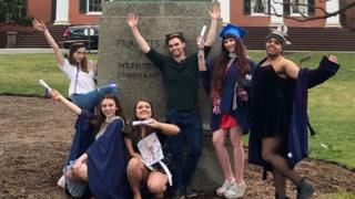 "Students pose at their ""mock graduation"" at Drew University"