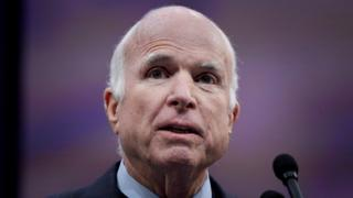 US Senator John McCain speaks after being awarded the 2017 Liberty Medal