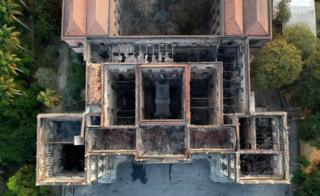 An aerial view of the burned-out National Museum of Brazil in Rio de Janeiro, September 3, 2018