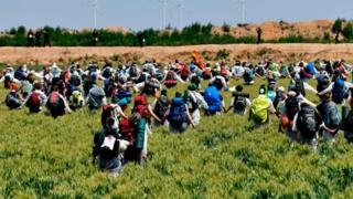 Activists running through fields with backpacks