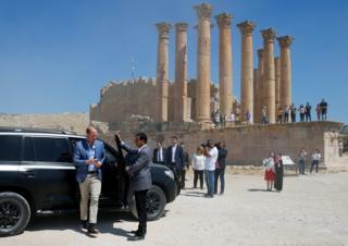 Prince William arrives at the ancient city of Jerash, Jordan