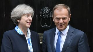 Prime Minister Theresa May with European Council President Donald Tusk in London, 6 Apr 17