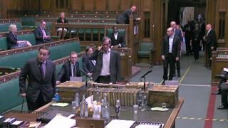 MPs lining up to vote in the Commons chamber