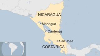Map of Nicaragua and Costa Rica