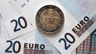 Greek euro coins and bills