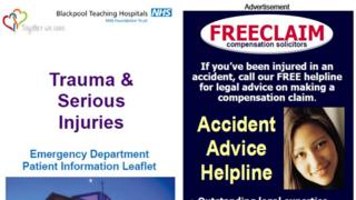 Blackpool Teaching Hospitals NHS Foundation leaflet showing a Freeclaim advert