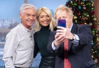 Phillip Schofield, Holly Willoughby and Boris Johnson take a selfie together