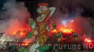 in_pictures A giant duck puppet created by Wydad Casablanca football fans seen at a stadium in Casablanca, Morocco - Saturday 23 November 2019