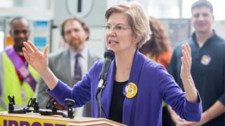 Senator Warren speaks at a rally