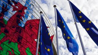 Wales flag projected on to the European Commission