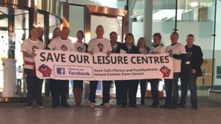 Protesters against the closure of leisure centres in Caerphilly county