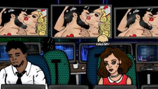 Ілюстрація працівників в офісі, позаду яких увімкнено телевізори з порно