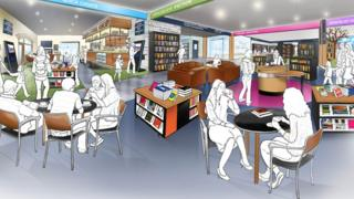 The interior of the new planned library