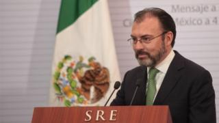 Mexico's new Minister of Foreign Affairs Luis Videgaray speaks during a press conference after his takeover as new Foreign Affair's Minister in Mexico City, Mexico, 04 January 2017