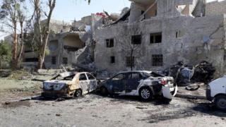 Autos quemados en Damasco. 2 de julio de 2017