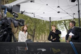 Caroline Lucas, Britain's first Green MP, being interviewed by Sky News
