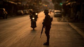 Thai soldiers are on high alert after insurgents detonated more than 36 small bombs in the region in the last few days on May 17, 2015 in Pattani, Thailand.