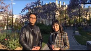 Hạnh Ly của BBC Tiếng Việt và ông Đình Đại, công chức Quận 13 ở Paris