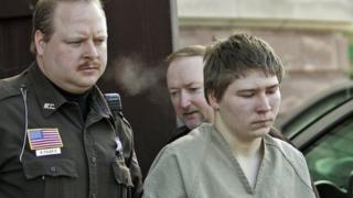 Brendan Dassey (right) is escorted out of a courtroom. Photo: 2006