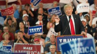 Republican presidential candidate Donald Trump speaks to supporters at a rally in Erie, Pennsylvania.