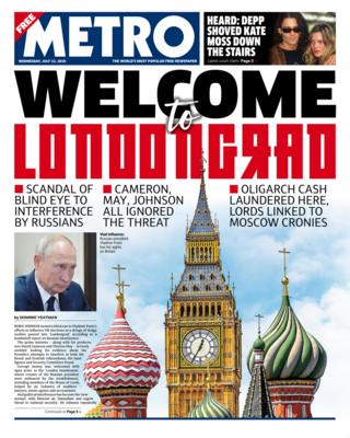 Metro front page 22 July 2020
