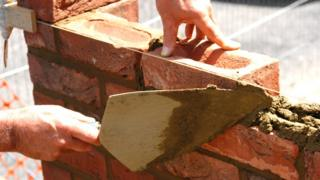 Close up bricklaying