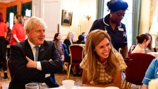 Boris Johnson and Carrie Symonds at a reception in Downing Street