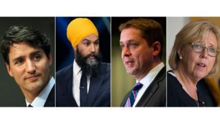 Justin Trudeau, Jagmeet Singh, Andrew Scheer, Elizabeth May