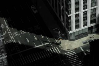 Empty street is seen in Manhattan