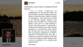 The Twitter statement from Kyle Paisley pulling out of a meeting with Eugene Reavey, who his father accused of being being the Kingsmills Massacre