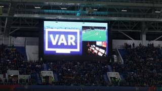 General view inside the stadium as the big screen informs fans of a VAR review happening regarding Iago Aspas of Spain's goal during the 2018 FIFA World Cup Russia group B match between Spain and Morocco at Kaliningrad Stadium on June 25, 2018 in Kaliningrad, Russia.