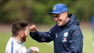 Maurizio Sarri jokes during training