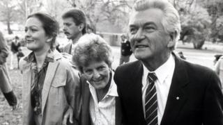 Rossalyn, Hazel and Bob Hawke pictured in 1987