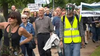 People opposed to the planned badger cull marched to protest