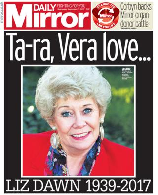 Daily Mirror front - 27/9/17