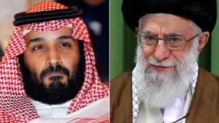 Mohammed bin Salman and Ayatollah Ali Khamenei