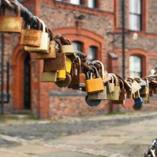 A row of padlocks