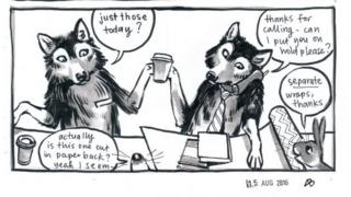 "Image showing two wolves behind a counter serving two smaller creatures. One wolf is saying ""Just those today?"" A snout responds ""Actually is this one out in paperback? Yeah I see.""The other wolf, who is wearing a tie and holding a drink, is on the phone saying: ""Thanks for calling - can I put you on hold please?"" There is also a bunny in the picture saying, ""Separate wraps, thanks."""