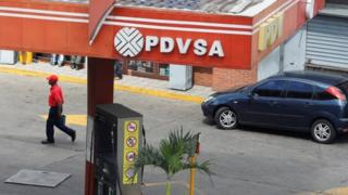 The corporate logo of the state oil company PDVSA is seen at a gas station in Caracas, Venezuela November 22, 2017