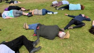 """Protesters stage a """"die-in"""" at Tynwald day"""