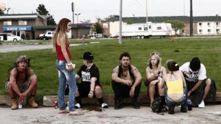 Shia LaBeouf (centre) with other American Honey cast members