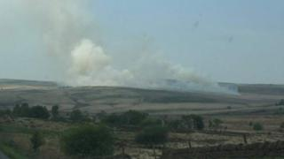 Peak District fire at Big Moor, near Baslow