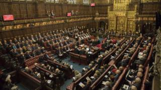 The House of Lords chamber sits in session at the Houses of Parliament in London on October 31, 2017