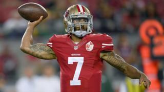 San Francisco 49ers quarterback Colin Kaepernick throws a pass against the Green Bay Packers in Santa Clara, California.