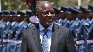 Tanzanian President John Magufuli on an official visit to Kenya in 2016