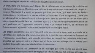 """L'ambassade israélienne a réagi, par un communiqué, aux """"propos antisémites"""" de Jean de Dieu MOmo."""